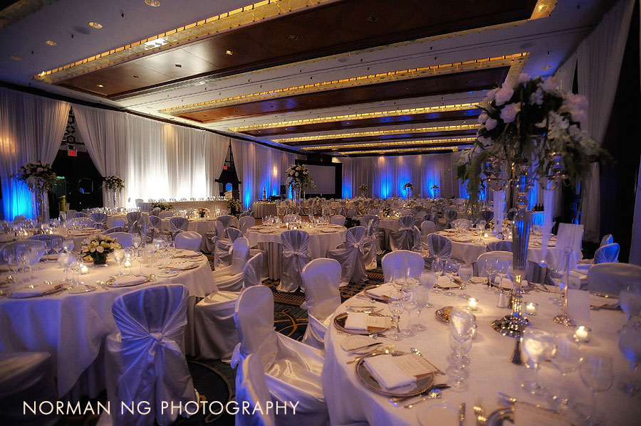 Four Seasons Vancouver - wedding reception - wedding decor - decorations - venue draping - perimiter draping - lighting - uplighting - corporate event vancouver