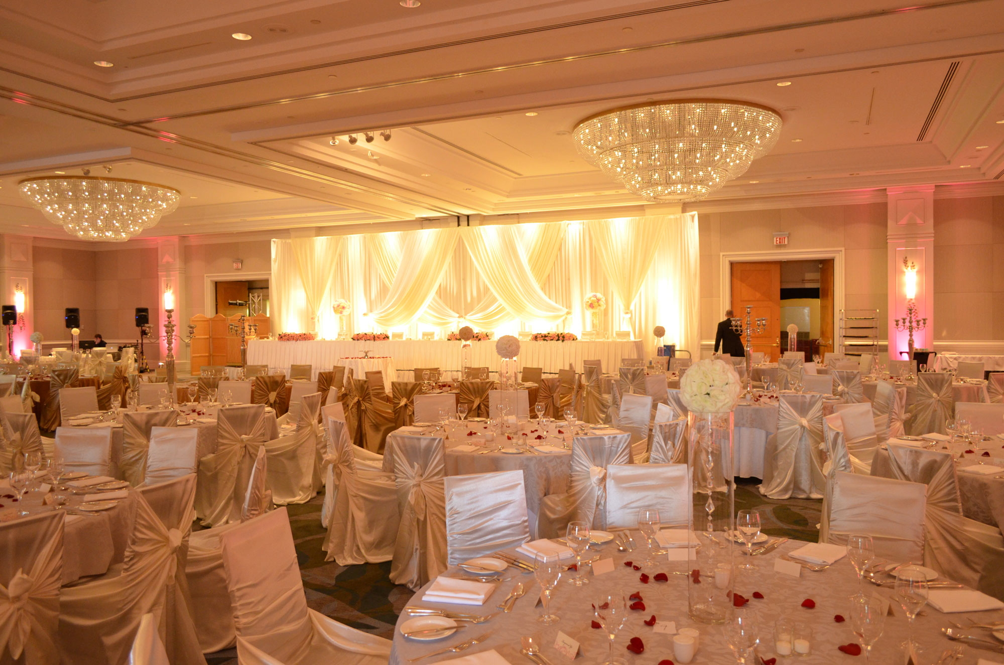 Vancouver Fairmont Waterfront - wedding decor decorations - Head Table - Backdrop - uplighting - chair covers