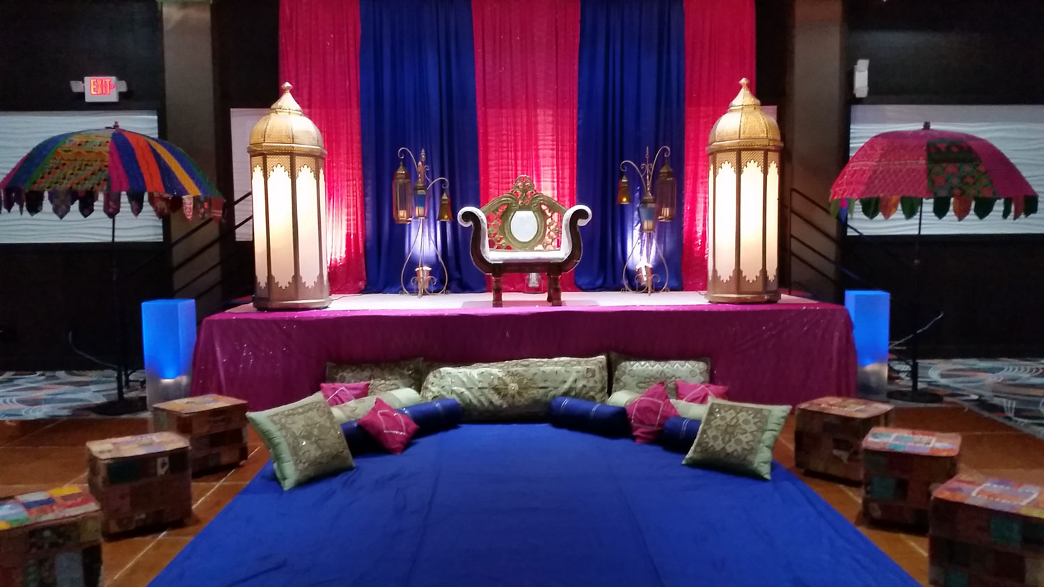 Aria Banquet Hall Indian Pre-Party decoration - choora party - mehndi party - indian wedding decor - moroccan decor - rajasthani theme decor - ladies party