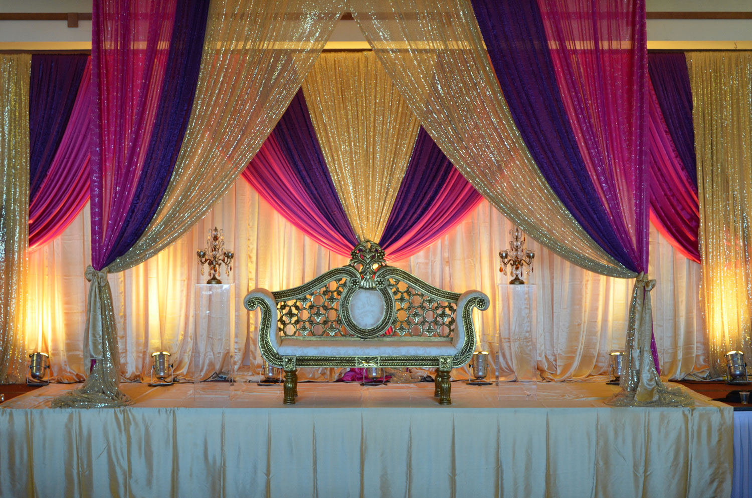 Engagement decor - decorations - lighting - backdrop - canopy - moroccan - banquet hall