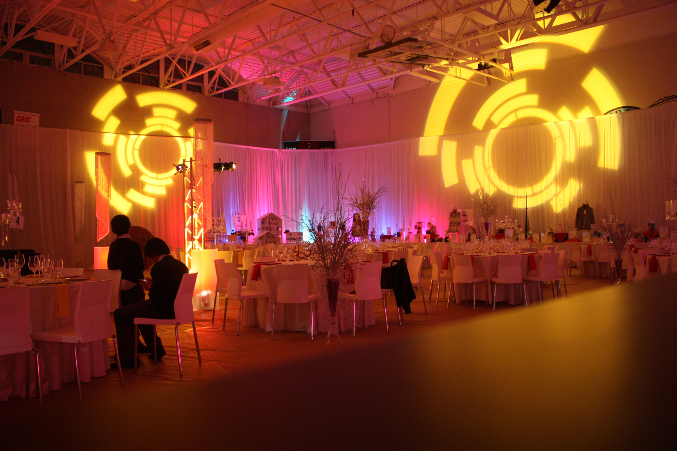Southridge Gala - corporate party decor - draping - venue draping - perimiter draping - lighting - custom gobo lighting - centerpiece - decoration