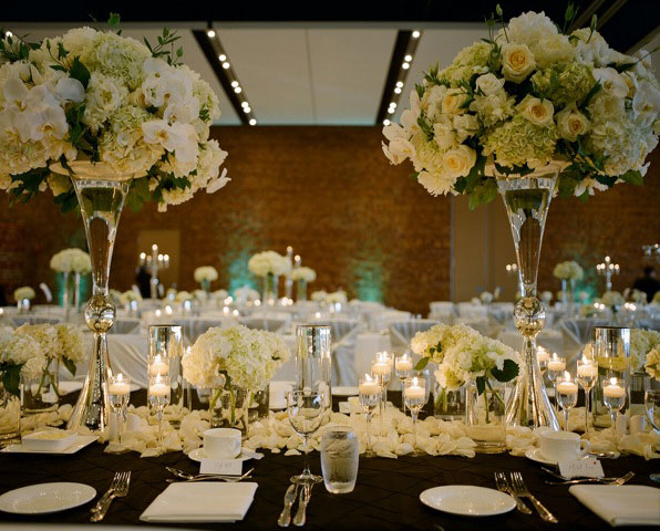 Vancouver Convention Centre wedding decor - centerpiece - Uplighting - head table