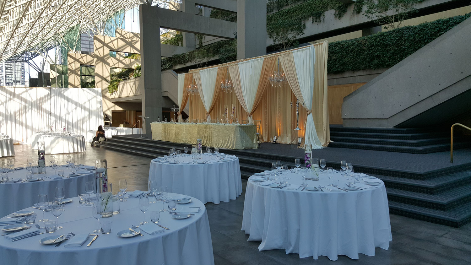 Vancouver Law Courts courthouse - wedding decor decorations backdrop - wedding chandeliers
