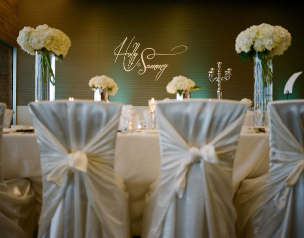 Vancouver Convention Centre Wedding Decor - decorations - lighting - uplighting - chaircovers - centerpieces