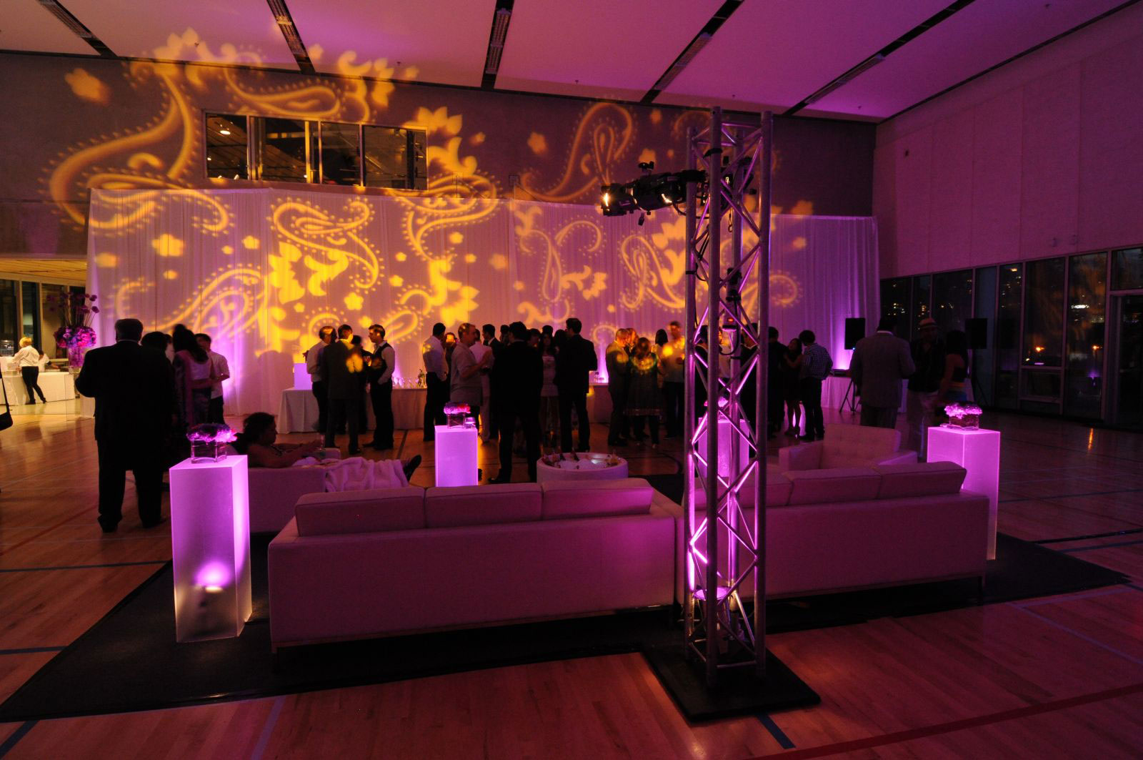 Vancouver Olympic Village Corporate Event - weddingn decor - custom lighting - paisley lighting - gobo - lounge furniture - draping