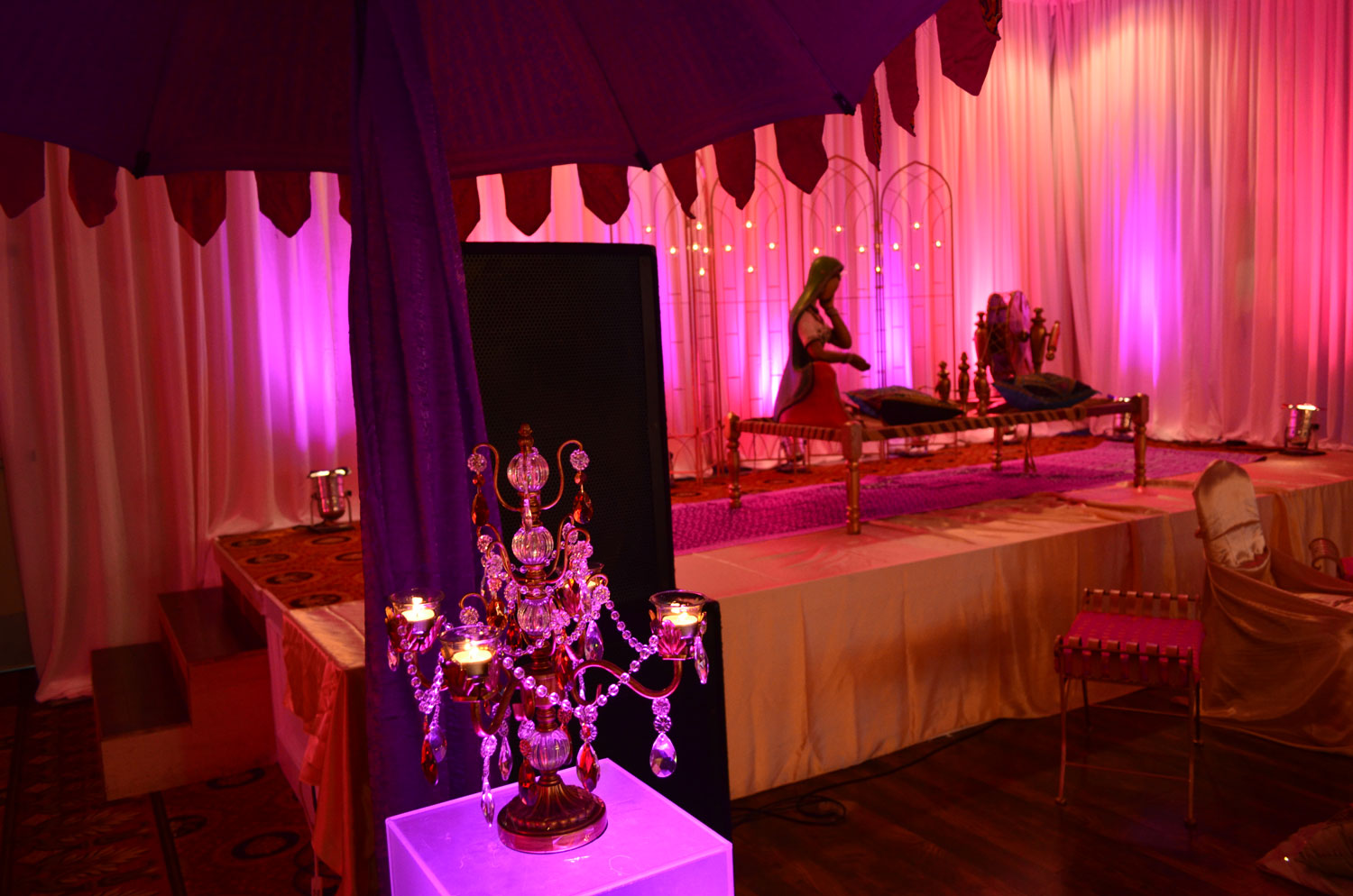 Punjabi theme decor - Maiyan / Ladies Party - draping - lighting - indian props