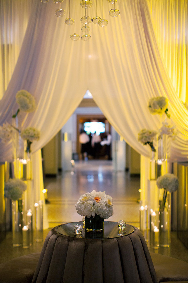 Vancouver Club - entrance draping - lighting - centerpiece - wedding decor - corporate decor