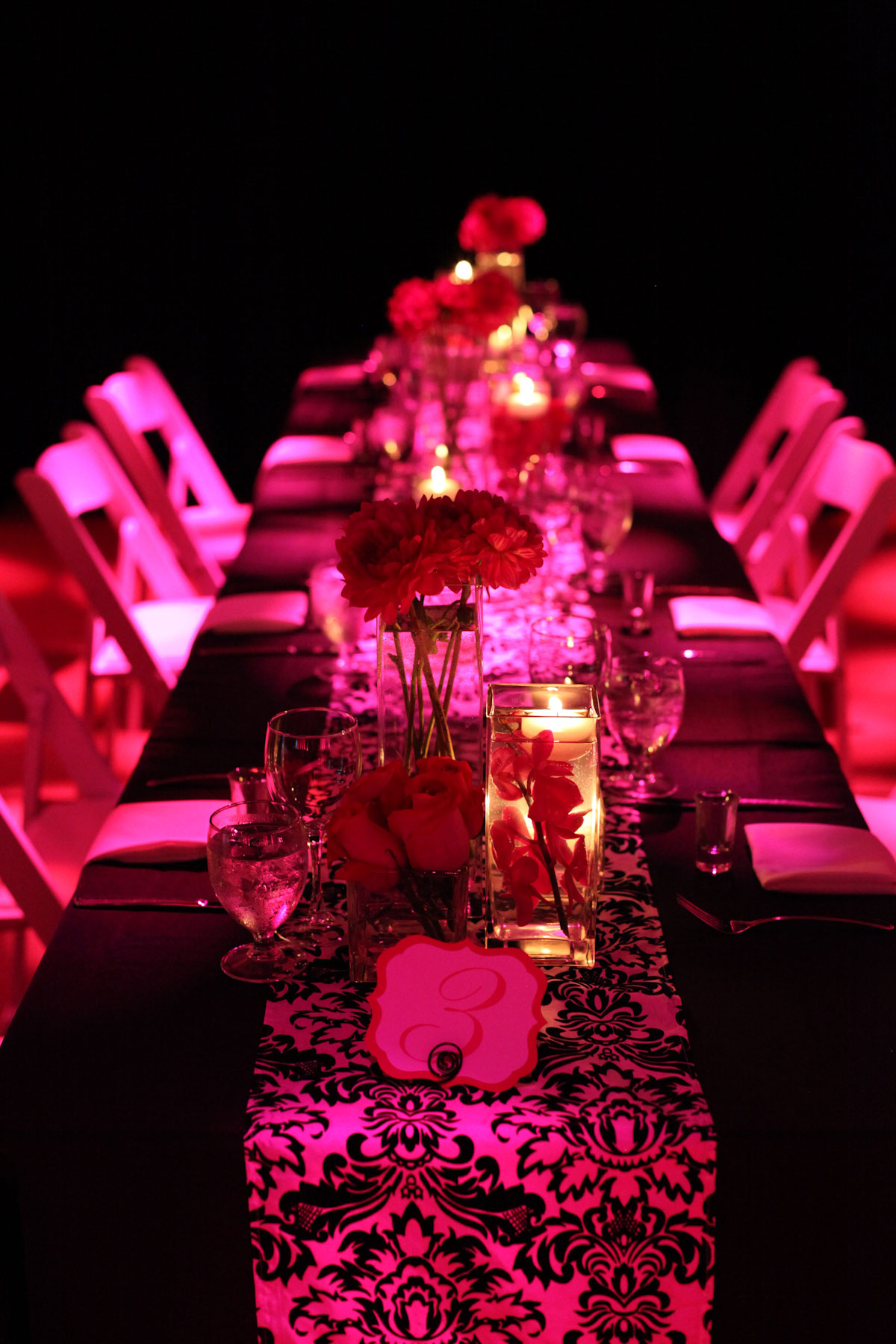 Granville Island Wedding - wedding decor decorations - Head Table - Uplighting - Candle Centerpiece