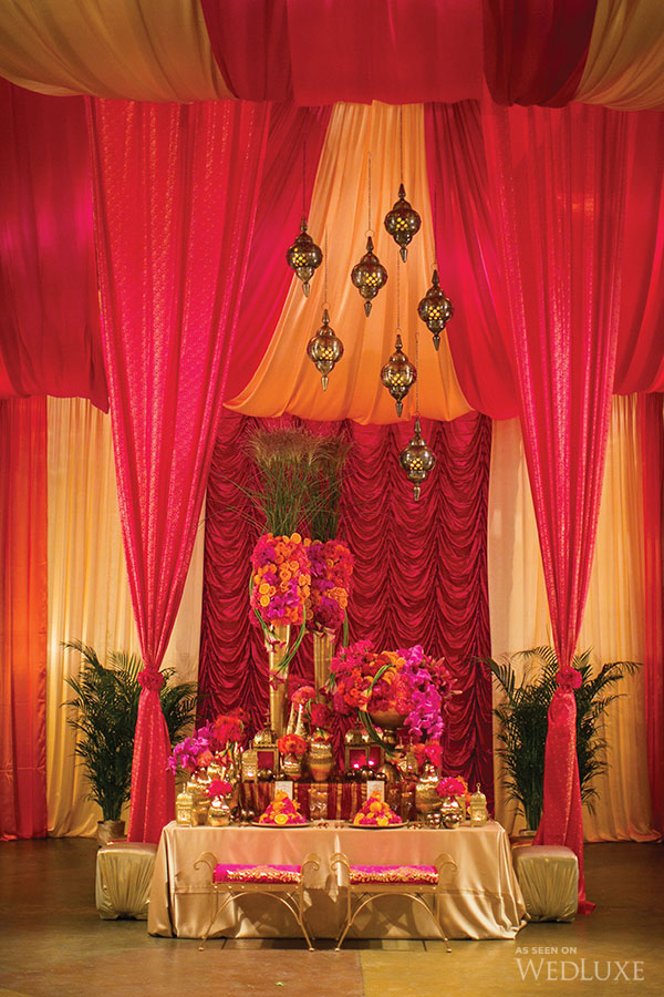 wedluxe - sunam - moroccan decor - moroccan decoration vancouver - indian decor - indian decoration - draping - backdrop - centerpiece - chandeliers - lanterns - lamps