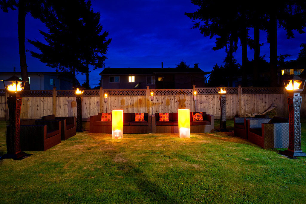 Fire and Wicker Ambience - glow tables - fire ambience - wicker lounge furniture - house party - home event - patio party - penthouse party