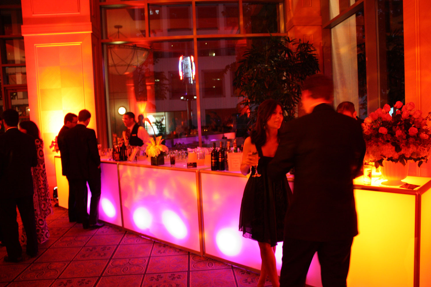 Vancouver Fairmont Waterfront - Corporate Event decor - LED Bars - ambience - ambiance