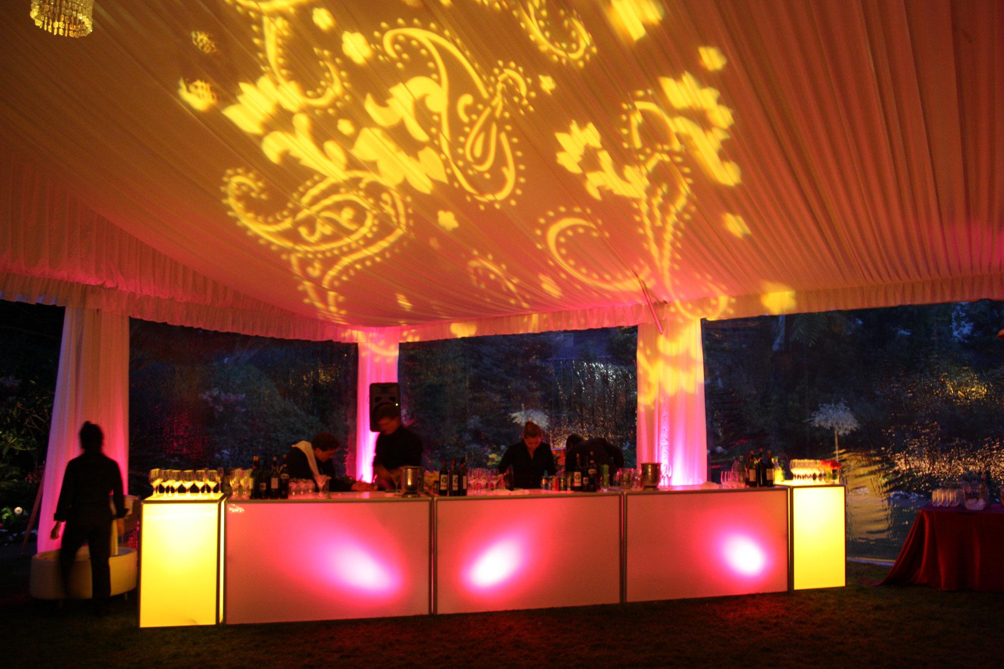 Custom LED Bar with Pattern Lighting - glow bar - gobo - paisley lighting