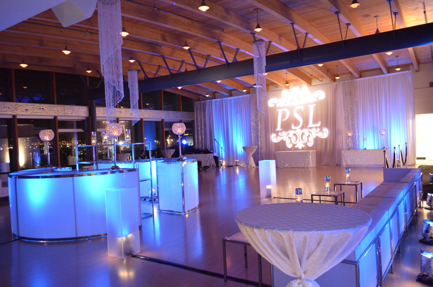 UBC Boathouse Lounge party - corporate event decor - birthday party - draping - lighting - furniture - gobo lighting