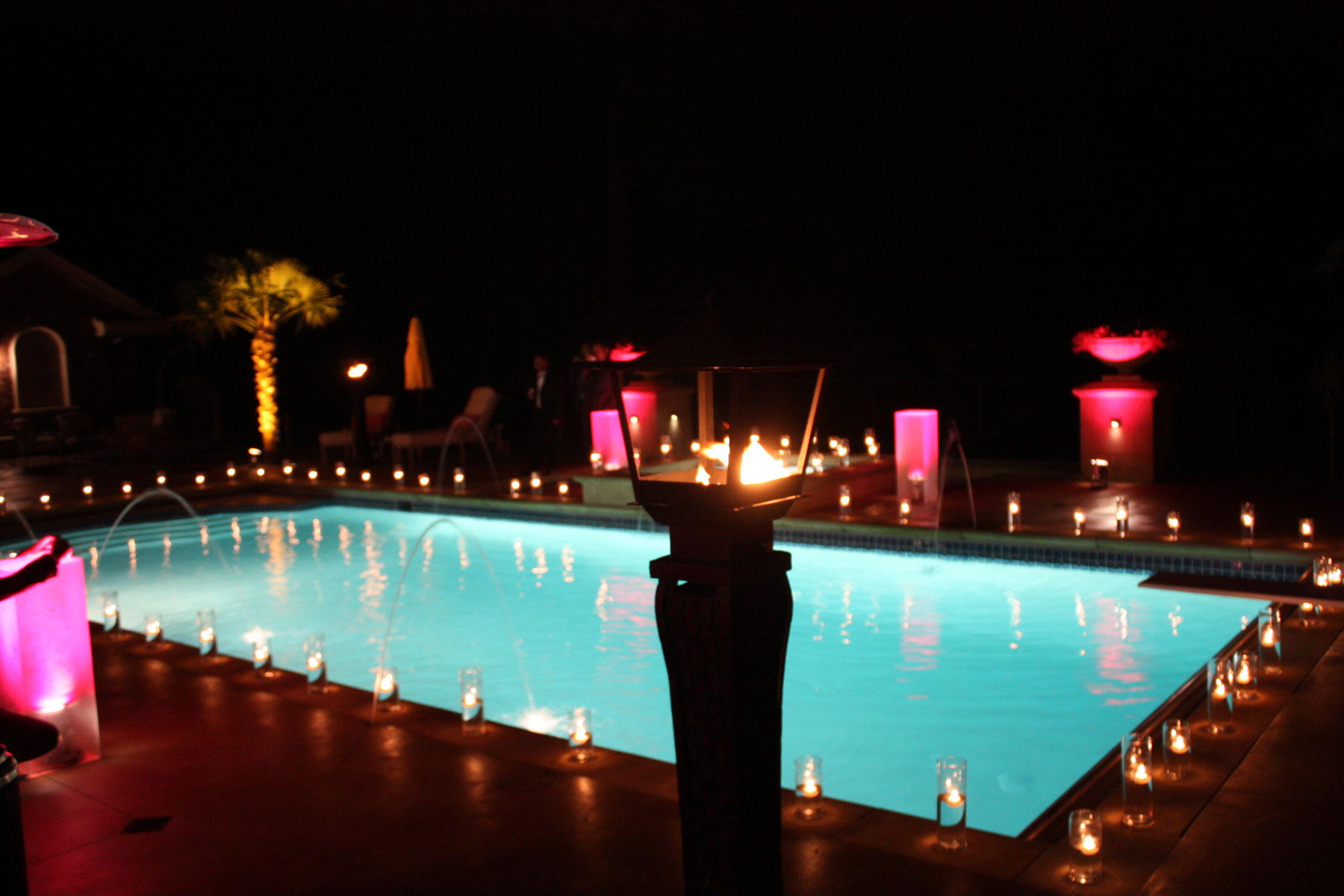 private-residence-pool party - house party vancouver - pool ambience - candles - lighting - penthouse party - uplighting - home decor - private party