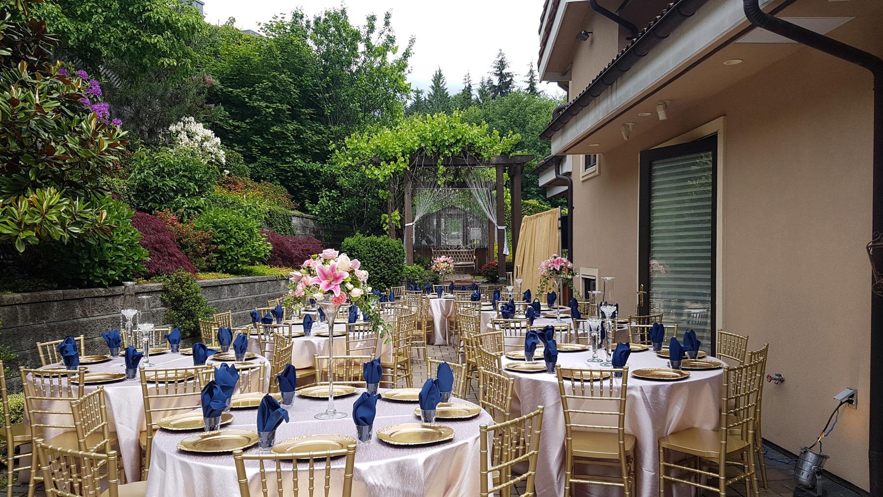 Backyard - house party - home event - chiavari chair - chivari - rustic wedding - centerpiece